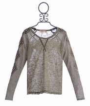 Miss Me Girls Long Sleeve Trim Shirt with Embellished Sleeves (SM 7/8 & MD 10)