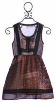 Miss Me Girls Patterned Dress Bohemian Burgundy (Size MD 10)