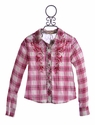 Miss Me Girls Pink Plaid Shirt with Rhinestones (LG 12, XL 14)