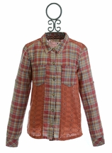 Miss Me Girls Plaid Shirt with Eyelet