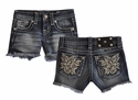 Miss Me Girls Short Denim with Flower Detail Pocket