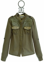 Miss Me Girls Spring Jacket in Olive Military Inspired (Size LG 12)