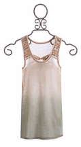 Miss Me Girls Tank in Cream with Ombre Detail (Size MD 10)