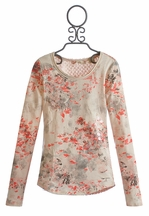 Miss Me Girls Top in Peach with Lace Back (LG 12)