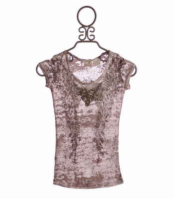 Miss Me Girls Tween Burnout Top Taupe with Wings