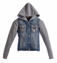 Miss Me Girls Tween Denim Hooded Jacket