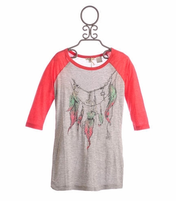 Miss Me Girls Tween Oversize Baseball Tee Feather Print