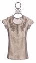Miss Me Girls Tween Top Grey with Floral Motif
