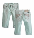 Miss Me Kids Capri in Seafoam Green