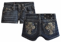 Miss Me Kids Embellished Cross Denim Tween Shorts