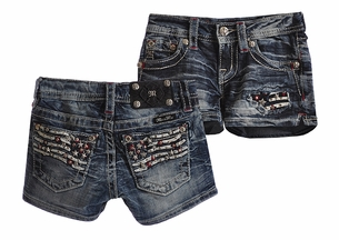 Miss Me Kids Flag Shorts for Girls (Size 12)
