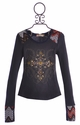 Miss Me Kids Long Sleeve Top with Cross (Size MD 10)