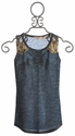 Miss Me Kids Navy Tween Tank with Lace Straps