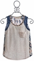Miss me Kids Oatmeal Tank with Navy Lace