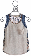 Miss Me Kids Oatmeal Tank with Navy Lace (LG 12)