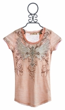 Miss Me Kids Peach Lace Back Top for Girls (LG 12)