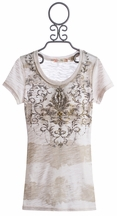Miss Me Kids Striped Tee Embellished in Oatmeal (Size LG 12)