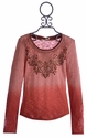 Miss Me Kids Trendy Girls Long Sleeve Top Rusty Red