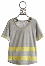 Miss Me Kids Tween Lemon Stripe Top (Size MD 10)