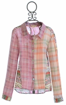 Miss Me Long Sleeve Plaid Shirt with Spring Flowers Accent (Size MD 10)