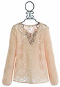Miss Me Long Sleeve Shirt in Peach Lace