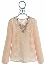 Miss Me Long Sleeve Shirt in Peach Lace (MD 10 & LG 12)