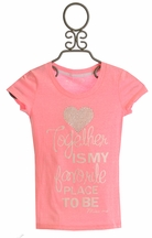 Miss Me Neon Pink Short Sleeve Shirt Together (MD 10 & LG 12)