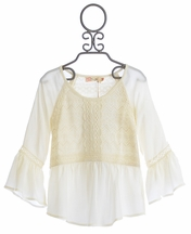 Miss Me Peasant Top in Ivory with Crochet Accent