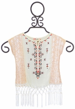 Miss Me Poncho Top for Girls in Cream