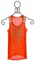 Miss Me Poppy Red Girls Tank Top with Aztec Applique