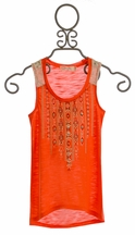 Miss Me Poppy Red Girls Tank Top with Aztec Applique (Size MD 10)