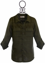 Miss Me Top for Tweens in Olive Green