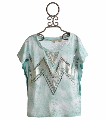 Miss Me Sequin Teal Chevron Burnout Top