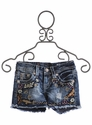 Miss Me Shorts for Girls Love Peace Embroidery