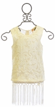 Miss Me Sleeveless Lace Top with Fringe Trim