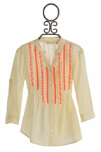 Miss Me Trendy Girls Top with Neon Orange Accent (Size MD 10)