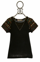 Miss Me Trendy Tee Aztec Sleeves (MD 10 & LG 10/12)