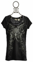 Miss Me Tween Black Lace Floral Crest Tee