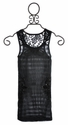 Miss Me Tween Burnout Tank with Black Lace