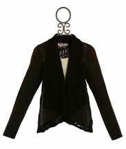 Miss Me Tween Cardigan with Lace in Black