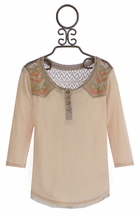 Miss Me Tween Designer Top in Cream with Aztec Print (Size SM 7/8)