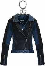 Miss Me Tween Faux Leather Denim Cropped Jacket