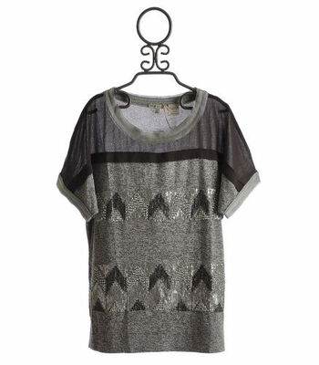 Miss Me Tween Grey Short Sleeve Top with Sequins