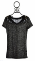 Miss Me Tween Heather Grey Tee with Lace Inset
