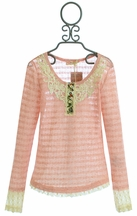 Miss Me Tween Long Sleeve Shirt in Pink with Crochet Accent