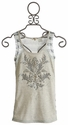 Miss Me Tween Oatmeal Embellished Damask Top