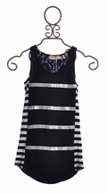 Miss Me Tween Top in Navy with Lace Back (SM 7/8)