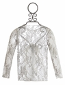 Moxie and Mabel Sheer Lace Top for Girls in Silver (Size 2T)