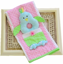 Mud Pie Burp Cloth Rattle Pink