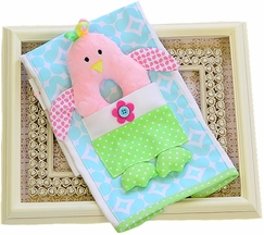 Mud Pie Chick Rattle Burp Cloth